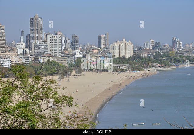 Skyline at Chowpatty Beach, Mumbai oder Bombay, Mumbai, Maharashtra, India - Stock Image