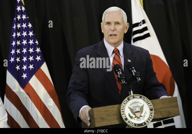 United States. 16 Apr, 2017. US Vice President Michael R Pence speaks to service members and family members during - Stock Image