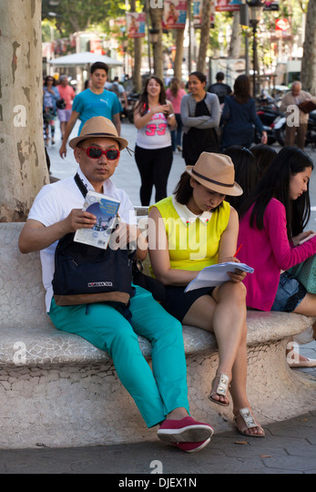Japanese tourists in Barcelona - Stock Image