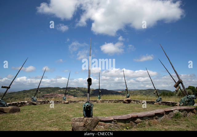Circle of Unicorns, 1991, by sculpture Daniel Spoerri sits atop the rolling hills of Monte Amiata in the Daniel - Stock Image