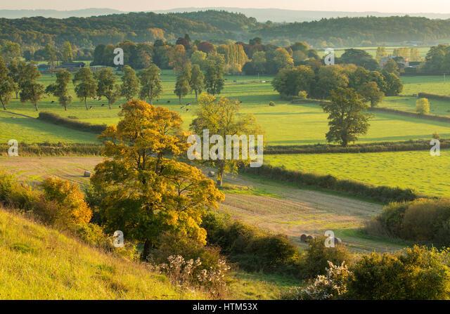 Autumn colours in the valley around Milborne Wick, Somerset, England, UK - Stock-Bilder