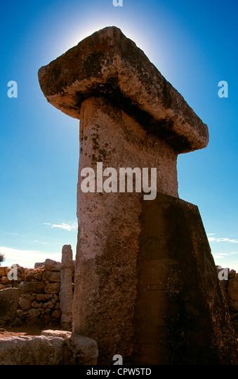 Taula in the Talayotic site of Trepuco Menorca Balaeric islands, Spain - Stock Image
