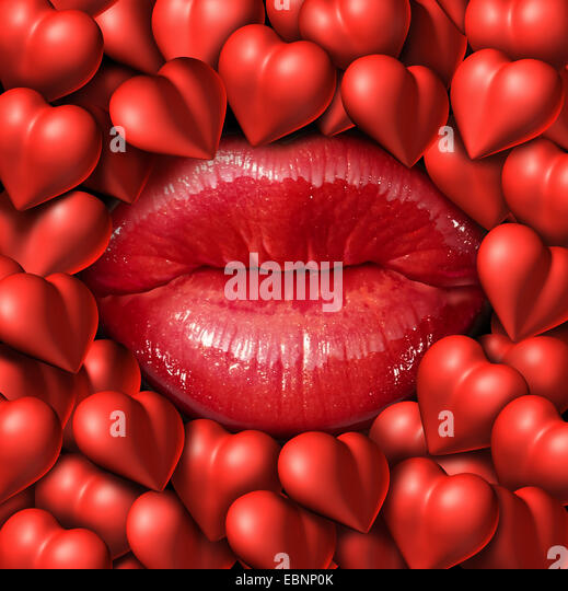Romance concept and love symbol as red female lips surrounded by a group of heart icons representing relationship - Stock-Bilder