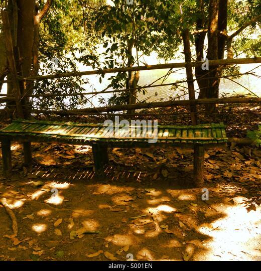 Long wooden bench in a park - Stock-Bilder