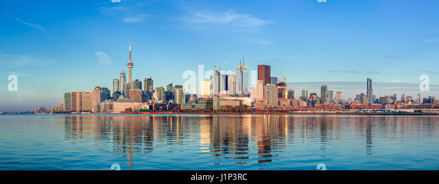 Skyline panorama of downtown Toronto from the South East. - Stock Image