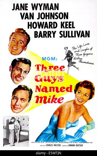 THREE GUYS NAMED MIKE, US poster art, top left: Van Johnson, Howard Keel, Barry sullivan, right: Jane Wyman,1951. - Stock Image