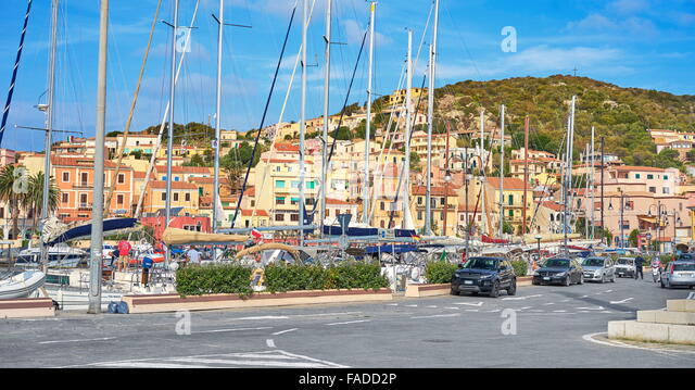 La Maddalena, view of the town and harbor,  La Maddalena Island, La Maddalena Archipelago, Sardinia, Italy - Stock Image