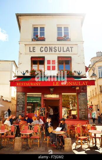 Bar Restaurant in Montmartre District, Paris, France - Stock Image