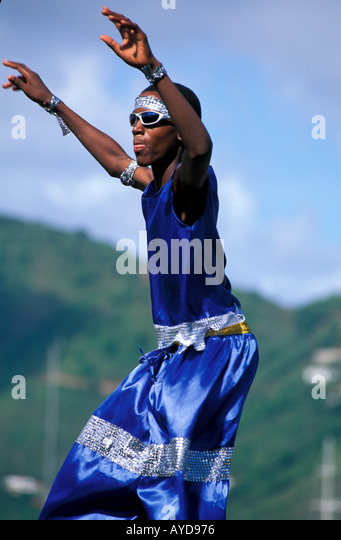 British Virgin Islands Emancipation Festival Mocko Jumbi Dancers - Stock Image