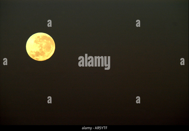 Moon on the Firmament 11 july 2006 at 06 50pm on tuesday Votorantim Sao Paulo Brazil - Stock Image