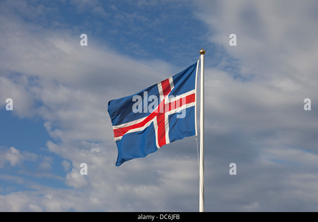 The Civil Flag of Iceland - Stock Image