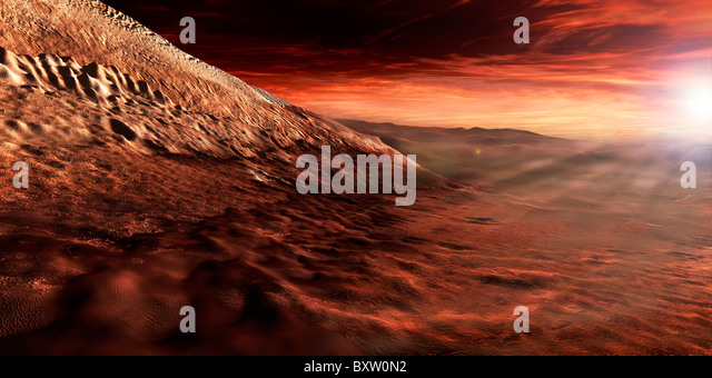 Dark dunes march along the floor of Gale Crater, resting on the lower reaches of the crater's central mound. - Stock Image