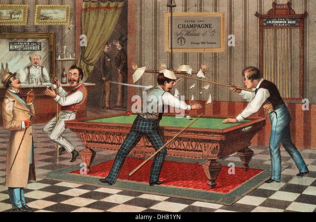A carom off the Chandelier - a pool shot goes astray, circa 1882 - Stock-Bilder
