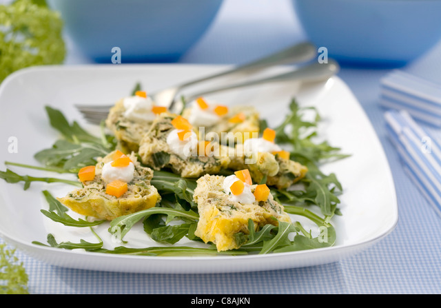 Leek and tuna omelette - Stock Image