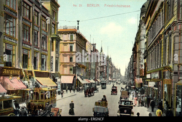 BERLIN - FRIEDRICHSTRASSE - early 20th century Street Scene - with cars postcard - Stock Image