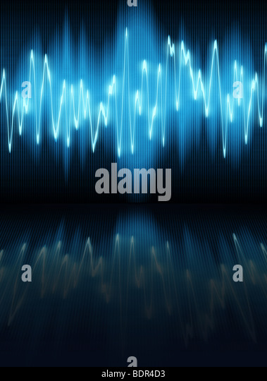 sound waves oscillating on black background - Stock-Bilder