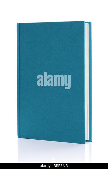 Isolated blank blue hardback book - Stock Image