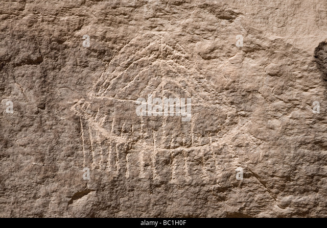 Rock-art of  sickle-shaped boat with cabin and crew in Wadi Abad in the Eastern Desert of Egypt, North Africa - Stock Image