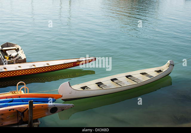 Boats mooring on calm water in Morro Bay, California, United States - Stock Image