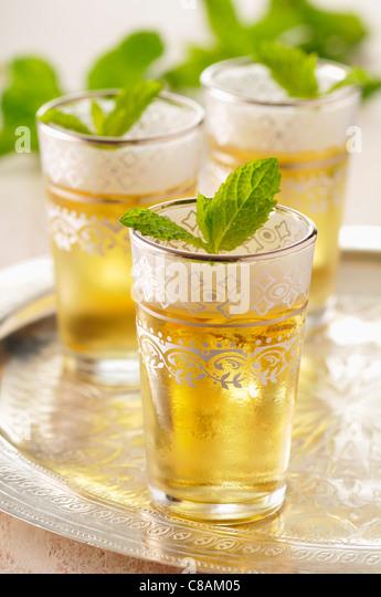Glasses of mint tea - Stock Image