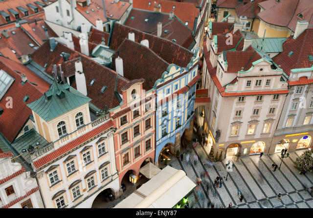 Overview of buildings on the Old Town Square, UNESCO World Heritage Site, Prague, Czech Republic, Europe - Stock-Bilder