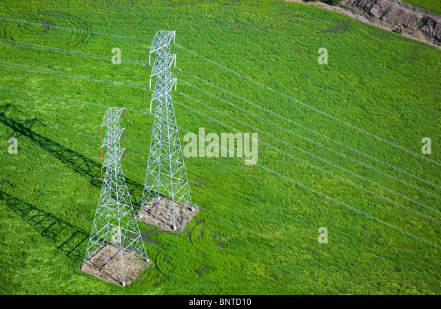 aerial view above electrical power transmission lines towers Sonoma county California - Stock Image