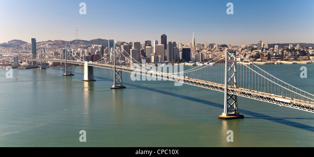 San Francisco Panorama with Bay bridge - Stock Image