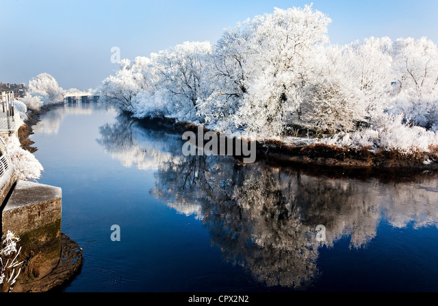 River shannon in winter, munster, limerick, ireland - Stock Image