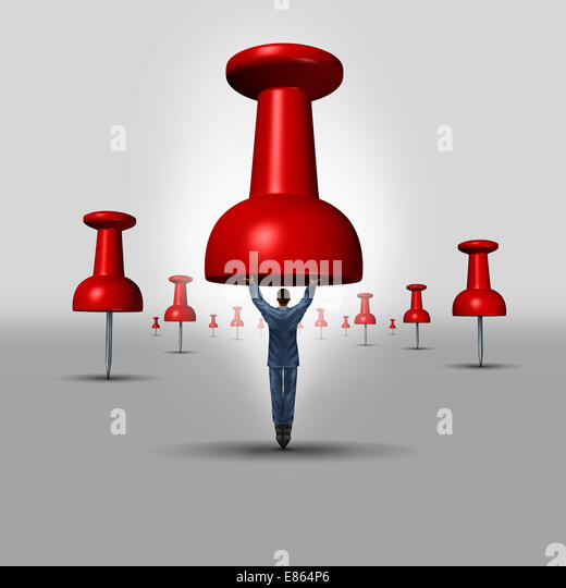 Business objective concept as a thumbtack or pushpin office icon with a businessman as the pin representing a target - Stock Image
