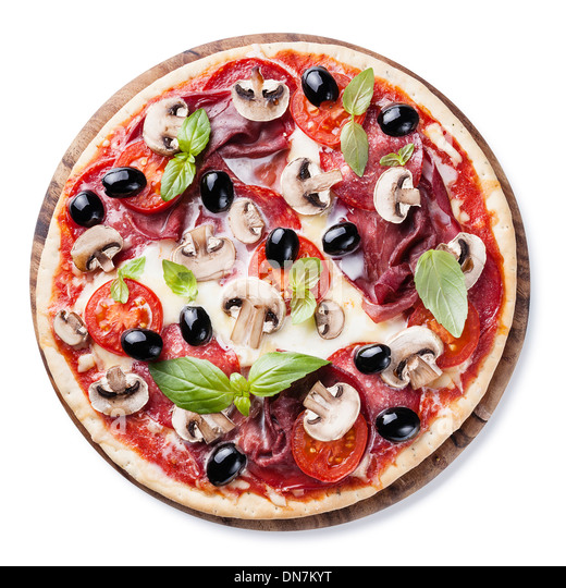 Italian pizza with salami, mushrooms, olives and basil leaves on white background - Stock Image