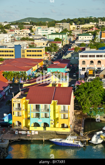 Looking down on the waterfront of St Johns, Antigua, Heritage Quay from Caribbean cruise ship - Stock Image