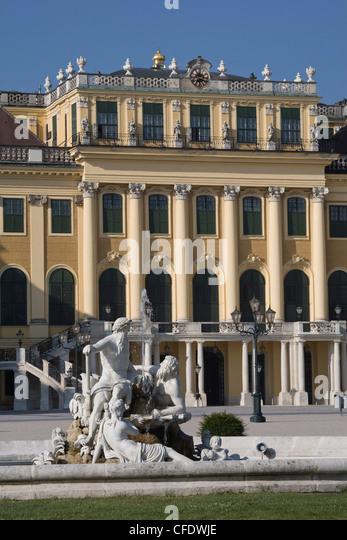 Front Facade, Schonbrunn Palace, UNESCO World Heritage Site, Vienna, Austria, Europe - Stock Image