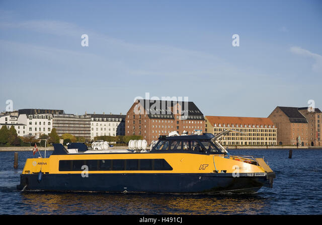 Denmark, Copenhagen, town view, waters, excursion boat, capital, town, houses, buildings, structures, waterway, - Stock Image