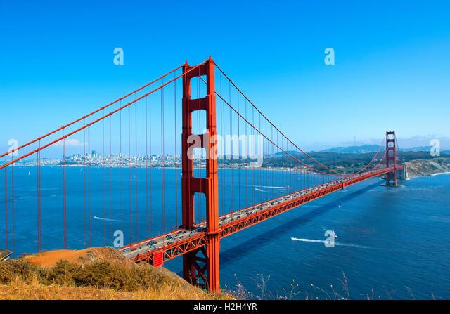 Golden gate Bridge and San Francisco Skyline - Stock Image