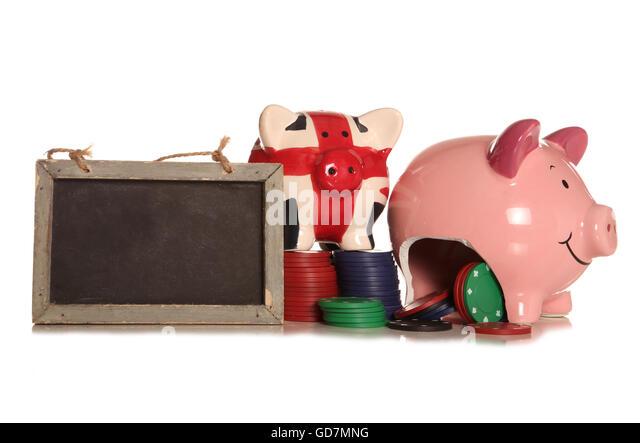 making money gambling piggybank cutout - Stock Image
