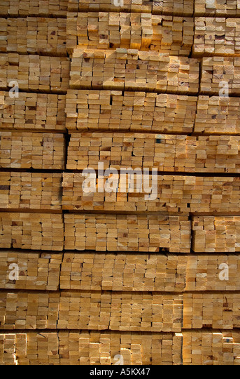 Pile of lumber for housing construction - Stock Image