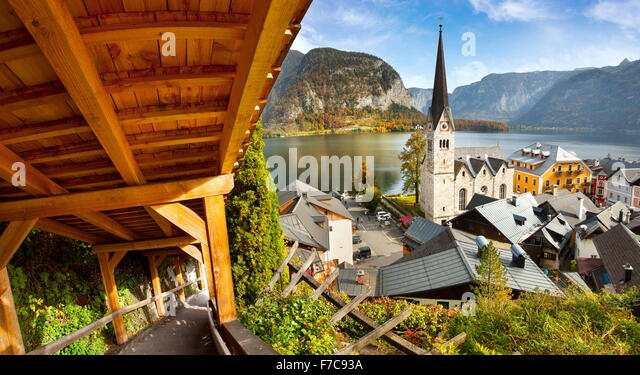 Austria - Hallstatt mountain village, Salzkammergut, Austrian Alps, UNESCO - Stock Image
