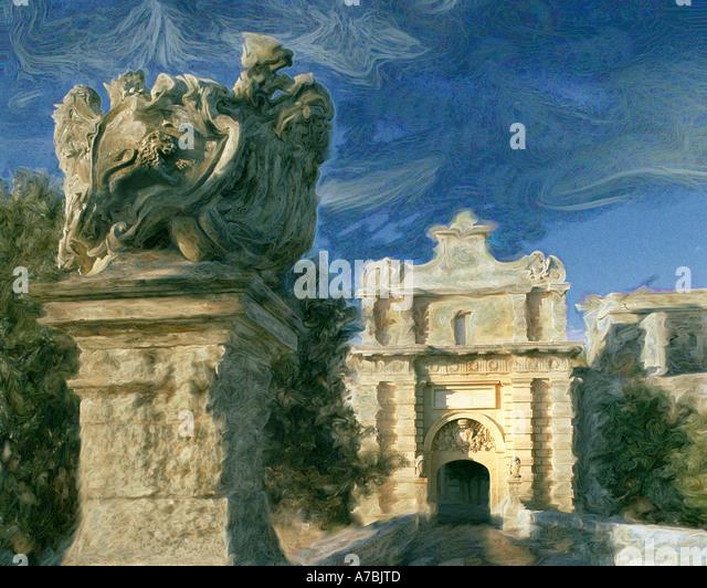 DIGITAL ART:  Notabile Gate at Mdina, Malta - Stock Image