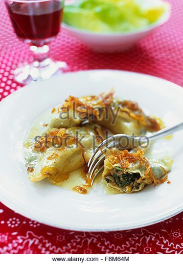 Filled pasta parcels - Stock Image