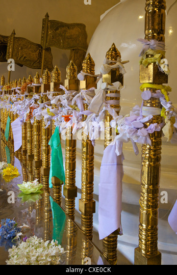 Offerings and strips of cotton left in Temple of the Tooth Relic, Kandy, Sri Lanka - Stock Image