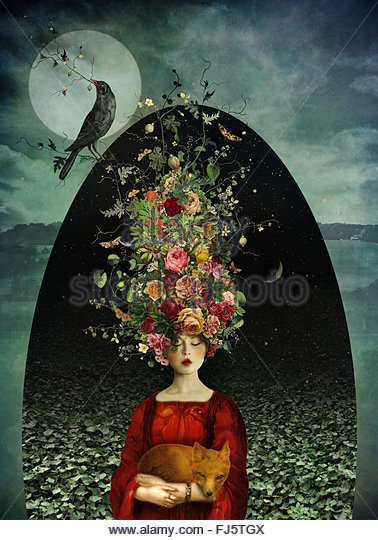 surreal woman wearing flower wreath holding a fox - Stock Image