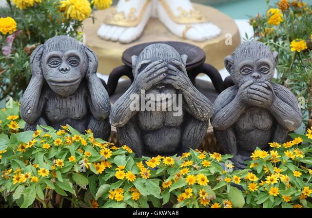 three monkys Sanzaru - Stock Image