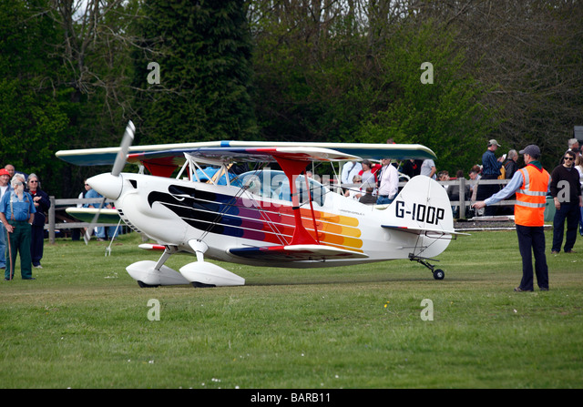 A Christen Eagle biplane aircraft at Popham airfield in Hampshire in England - Stock-Bilder