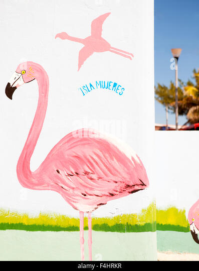A colorful mural near the zocalo (main town plaza) in Isla Mujeres, Quintana Roo, Mexico. - Stock Image
