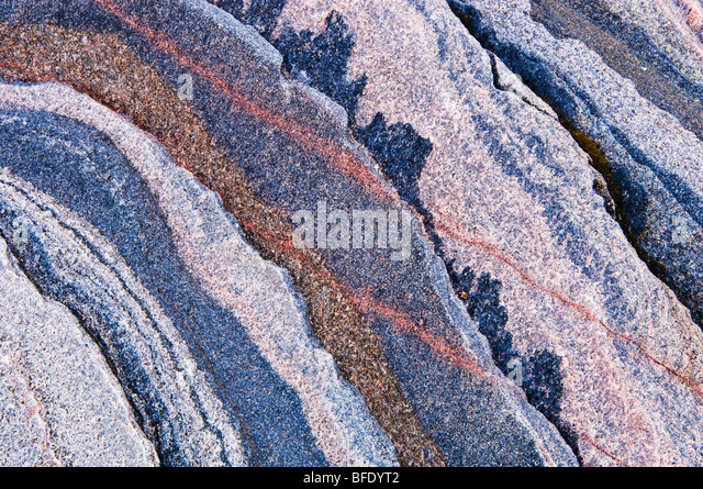 Abstract pattern detail of rock, Killbear Provincial Park, Ontario, Canada - Stock-Bilder