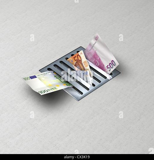 Drain with money - Stock-Bilder