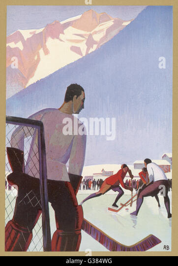 An ice-hockey match in  Chamonix, France         Date: 1931 - Stock Image