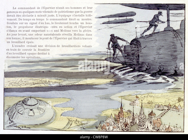 War in the 20th century, illustration by Robida - Stock Image