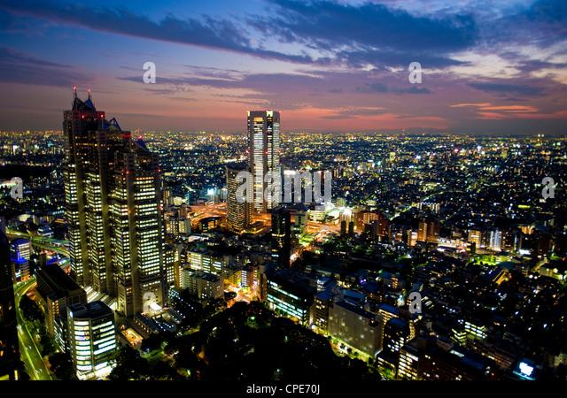 View from Tokyo Metropolitan Building, Shinjuku, Tokyo, Japan, Asia - Stock Image