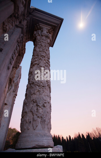 Ruin of European style palaces in Yuanmingyuan Park at dusk, Beijing, China - Stock Image